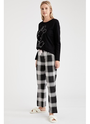 Defacto –Fit Mickey Mouse Baskılı Kareli Pijama Takımı Siyah